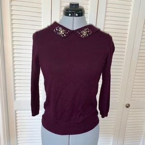 Ann Taylor sweater with jeweled collar size S